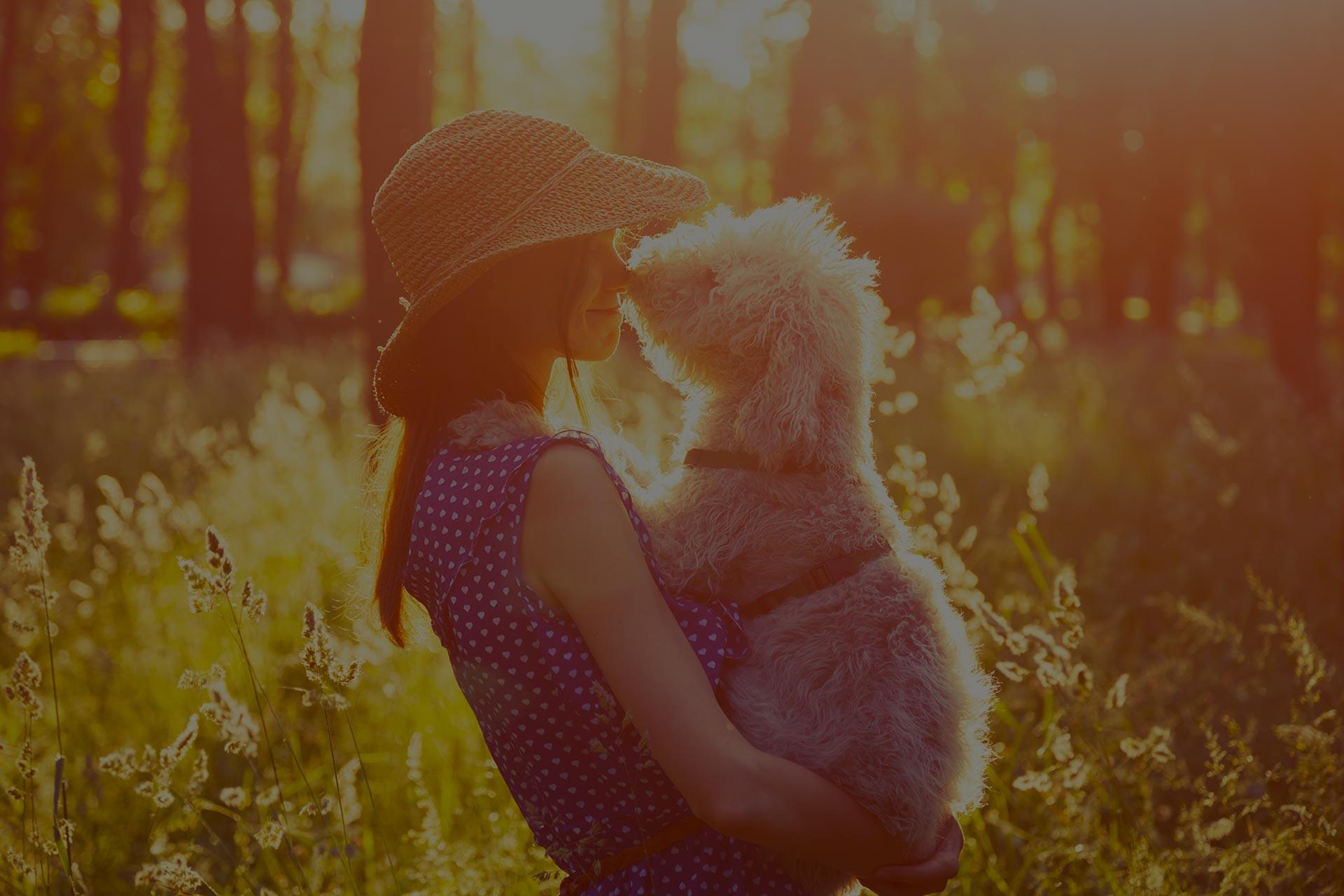 young girl holding her dog, rural sunny landscape